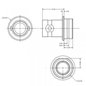 BNC Outer Circlip Bulkhead Mounted Connector Body