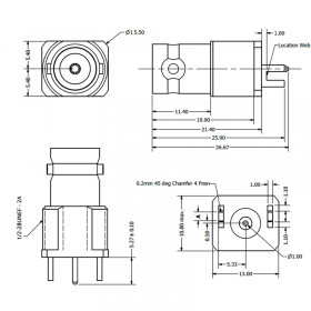 C-SX-058G - 3GHz Edge Mounting BNC Connector with Location Webs