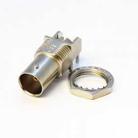Right Angle PCB Mounting BNC Connector with PathfinderTM Light Pipe (6.8mm leg)