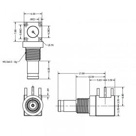 C-SX-086G - PCB Right Angle 1.0 / 2.3 Bulkhead Connector