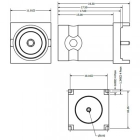 C-SX-123 - Square Based Top Entry BNC Connector (Long Body)