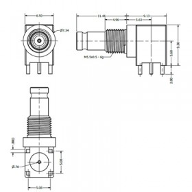 C-SX-135 - Right Angle DIN 1.0/2.3 Bulkhead Connector