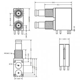 C-SX-137G - Dual Port Right Angle DIN 1.0/2.3 Bulkhead Connector