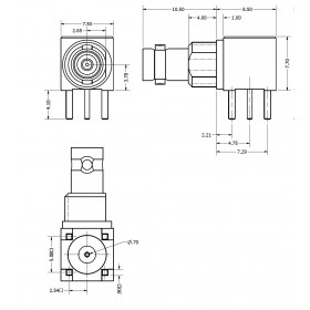 C-SX-142NGRZR2 - Right Angle Bulkhead Micro BNC Connector