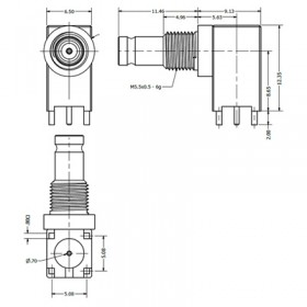 PCB Right Angle Bulkhead Connector (Long Body)