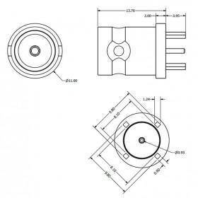 C-SX-152 - Top Entry PCB Mounting BNC Socket