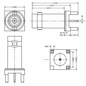 C-SX-153 - Top Entry 3 Pin Long Body Micro BNC Connector