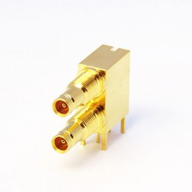 C-SX-167G - Dual Port Right Angled DIN1.0/2.3 Bulkhead Connector