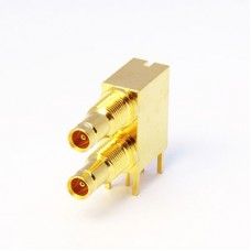 Dual Port Right Angle PCB mounted Bulkhead Connector