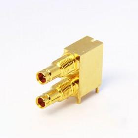 C-SX-171G - Dual Port Right Angle DIN 1.0/2.3 Bulkhead Connector
