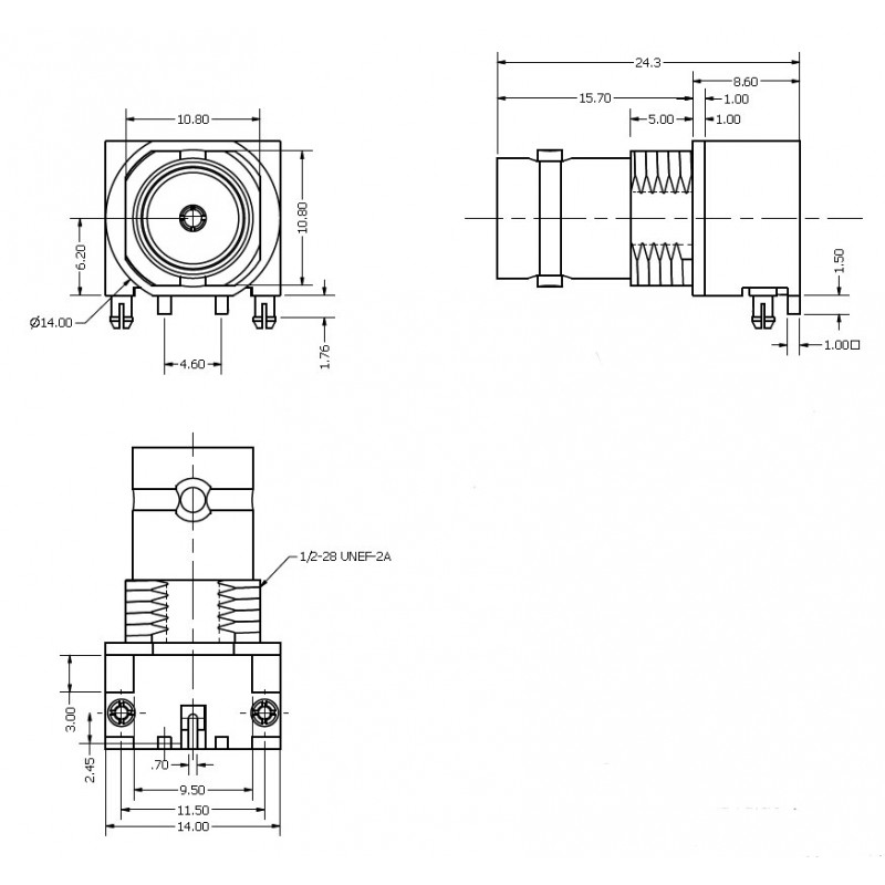 right angle surface mount bnc socket  for automatic