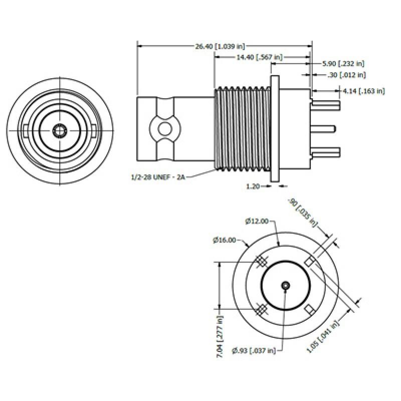 top entry bulkhead bnc connector