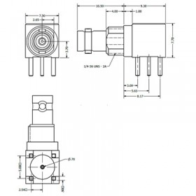 C-SX-185 - Right Angle Micro BNC Bulkhead Socket