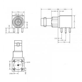 C-SX-199 - Right Angle PCB Bulkhead Micro BNC Connector