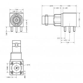 C-SX-199NGRZR2 - Right Angle PCB Bulkhead Micro BNC Connector