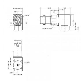 C-SX-208 - Right Angled Micro BNC Connector (slim body)
