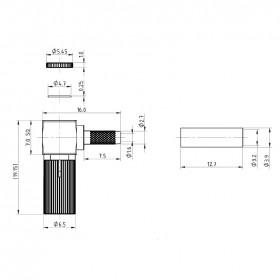 XGT-8016-NGAF - DIN 1.0 / 2.3 Right Angled Screw On Cable Mounted Plug