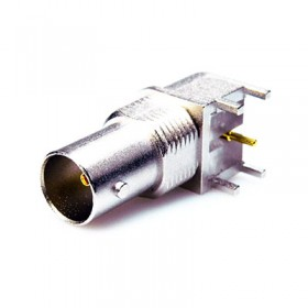 Right Angle PCB Mounting BNC Connector with PathfinderTM Light Pipe (3.3mm leg)