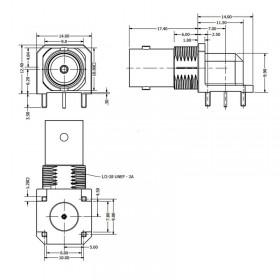 C-SX-151 - Right Angle PCB Mounting BNC Socket