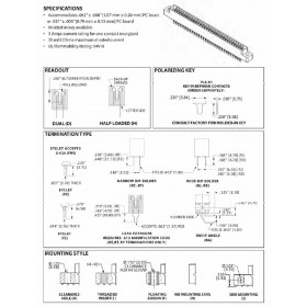 """Card Edge Header 3.18mm [.125""""] Contact Centres, 10.95mm [.431""""] Insulator Height"""