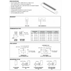 """Card Edge Header 2.54mm [.100""""] Contact Centres, 15.49mm [.610""""] Insulator Height"""