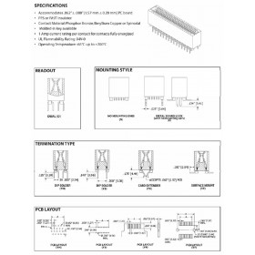 "Card Edge Header 1.27mm [.050""] Contact Centres, 12.40 [.488""] Insulator Height"