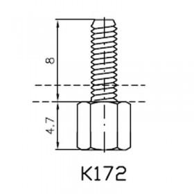 Lock Nut Stud (8mm 4-40 UNC Internal, M2.5 External)