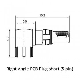 Right Angle PCB Plug Short (75Ω)