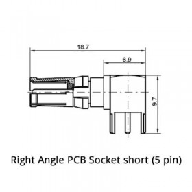 Right Angle PCB Socket Short (50Ω)