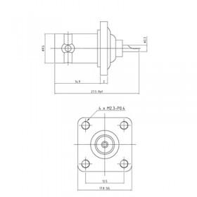 XBD-1004-NGAW - BNC Socket with Square Flange Bulkhead Mount