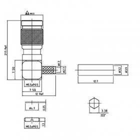 XGT-8004-NGBG - Right Angle Cable Mounted 1.0 / 2.3 Plug