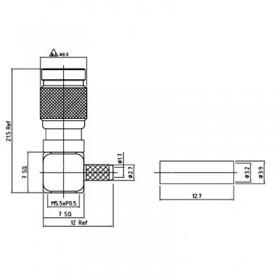XGT-8004-NGAF - Right Angle Cable Mounted 1.0 / 2.3 Plug